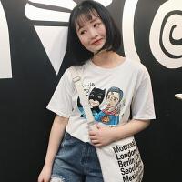 韩观2017夏季新款恶搞可爱小超人蝙蝠侠简约宽松套头百搭短袖t恤女装SN042