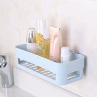 卫生间置物架壁挂浴室化妆洗漱用品收纳置物架 免打孔吸壁式收纳盒 沥水架