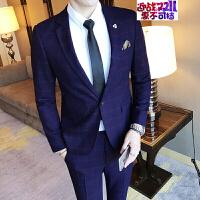 男士休闲西服男修身商务格子小西装外套大码青年韩版潮流单西礼服 藏青色 48
