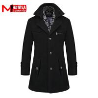 男士秋冬季羊毛呢子大衣韩版修身休闲加厚保暖中长款风衣外套男装