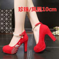 凤凰水钻婚鞋红色高跟鞋新款结婚秀禾鞋新娘鞋粗跟红鞋婚纱鞋 珍珠/凤凰10cm 红色