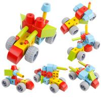 宝宝木制儿童智力玩具1-3岁6周岁大颗粒拼插积木男孩