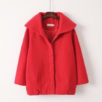韩观秋冬装长袖大翻领毛呢大衣韩版甜美休闲贴布学生茧型外套女 红色