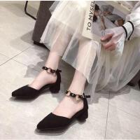 尖头单鞋女仙女风ins同款时尚新款浅口百搭晚晚鞋粗跟一字扣女鞋