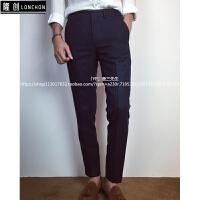 男士西裤商务直筒免烫商务西装裤秋季休闲裤修身条纹英伦长裤潮男 深蓝色