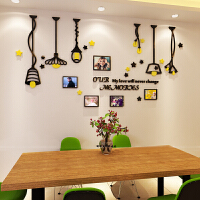 创意北欧照片墙亚克力墙贴相框墙壁客厅卧室房间背景墙装饰3d立体 黑+黄 相框吊灯