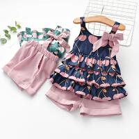女童夏装套装儿童装吊带短裤两件套女孩时髦夏季衣服