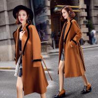 2017秋季新款韩版毛呢大衣气质显瘦翻领中长款毛呢外套女修身女装 JR6016焦糖色