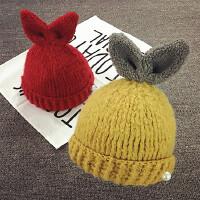 儿童毛线帽秋冬宝宝帽子1-2岁加厚手工兔耳针织帽韩版潮男女童帽