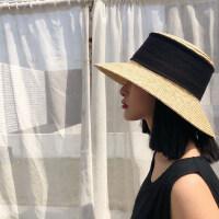 韩版太阳帽大檐平顶拉菲草帽女夏天小清新沙滩帽子休闲百搭遮阳帽
