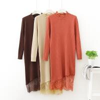 秋冬季新款半高领蕾丝拼接上衣修身套头中长款打底毛衣针织衫女装