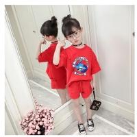 女童运动套装童装女儿童夏季短袖T恤洋气衣服两件套