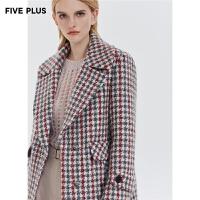 FIVE PLUS新款女装千鸟格子羊毛呢大衣女西装外套长款宽松翻领
