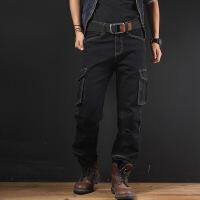 春秋季黑色牛仔裤男宽松直筒工装长裤加肥加大码肥佬裤胖子多口袋 黑色