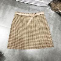 韩国秋冬新款呢料半裙配腰带修身包臀裙女加厚毛呢短裙