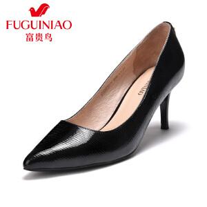 富贵鸟时尚头层牛漆皮尖头纯色条纹女高跟单鞋优雅工作鞋