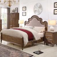【1件3折 领券】美式古典实木床1.8米小户型 卧室家具现代简约双人大床
