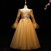 女童蓬蓬纱秋冬长袖金黄色小主持人模特走秀女儿童礼服公主裙