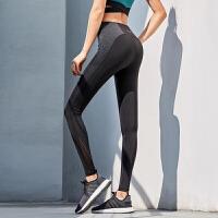 拼色健身裤弹力紧身提臀瑜伽裤女跑步长裤薄外穿运动裤裤女春