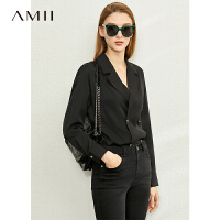 Amii极简气质双排扣衬衫女2020春新款翻领V领宽松显瘦两穿衬衣