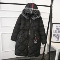胖MM冬装大码女装韩版中长款大毛领修身显瘦女式棉衣YK609 黑色