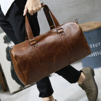 男士旅行包手提斜挎包旅游休闲男包韩版出差单肩包行李包皮潮 咖啡色