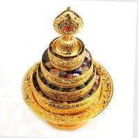 曼扎盘七宝曼扎盘藏传佛教用品供品雕刻合金曼茶罗带托盘金色送长辈送朋友工艺品礼物图示