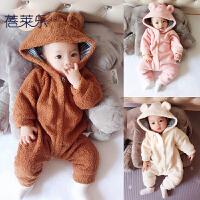婴儿睡衣连体衣服男宝宝0新生儿3个月1秋冬季冬装6外出抱衣外套装