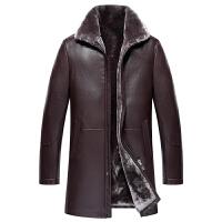 秋冬新款翻领绵羊皮皮毛一体男中长款中年真皮衣男士皮草加厚外套