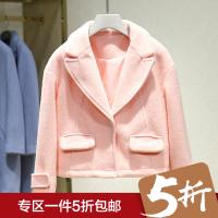 毛呢外套女冬装新款 纯色简约百搭显瘦短款呢大衣