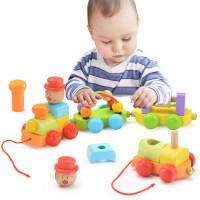 幼儿童木质小火车女宝宝力拖拉玩具男孩积木绕珠6个月1-2-3岁 拖拉车