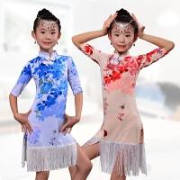 新款儿童拉丁舞裙少儿舞蹈练习演出服装比赛表演衣服女