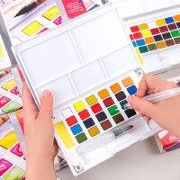 柏伦斯固体水彩颜料套装18色24色36色固体水彩 初学者手绘水彩画颜料透明美术画画颜料便携