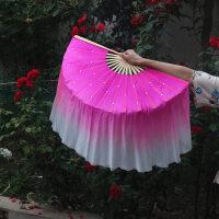 真丝秀色舞蹈扇子跳双面胶州秧歌扇广场舞扇子加长渐变扇016