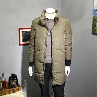 2017冬装立领羽绒服男中长款韩版原创加厚白鸭绒外套潮流青年男装 绿色 M