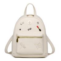 迷你韩版双肩包休闲女包小背包旅行包秋 米白色
