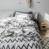 简约床上四件套全棉纯棉被套1.8m床双人格子床单被罩三件套