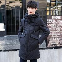新款冬季男装羽绒服男士中长款修身韩版加厚青年防寒潮流外套 黑色 M