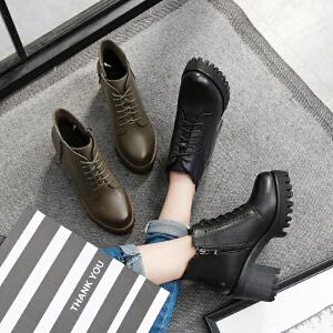 毅雅2017秋冬季女鞋复古系带马丁靴女英伦风高跟粗跟防滑短靴靴子YM7WO5787