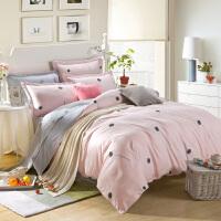 棉四件套斜纹棉被套双人床单床笠款夏季1.51.8m床上用品 乳白色 蒲公英