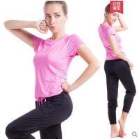 短袖长裤韩版休闲运动套装两件套舒适锦纶显瘦含胸垫瑜伽服健身服女