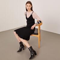 活动到手价104丨红袖女装黑色中长款V领针织吊带连衣裙