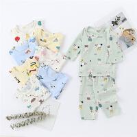 儿童家居服7分袖套装睡衣薄款宝宝夏季中空调服
