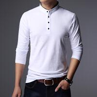 秋装男士长袖T恤立领修身个性韩版薄款上衣秋衣纯色打底衫外穿潮