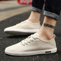 时尚新款韩版潮流男鞋子帆布鞋男士亚麻潮鞋休闲老北京布鞋透气