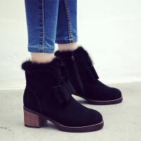 小红人粗跟短靴女秋冬磨砂皮马丁靴女英伦风高跟及踝靴加绒女靴子