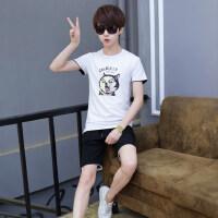 韩版两件套初中学生潮流T恤七分裤 新款青少年运动套装男士五分短裤