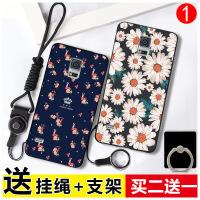 三星S5手机壳 三星 s5保护套 s5 三星G9008v 硅胶防摔挂绳指环支架彩绘软套XDR