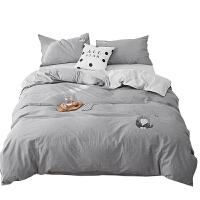 简约纯色全棉水洗棉刺绣四件套素色被套卡通绣花单双人床上用品