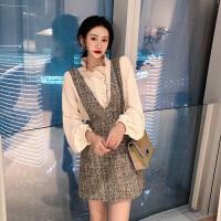2018女秋新款韩版百搭长袖修身衬衫+高腰半裙+粗花呢子背带裙套装
